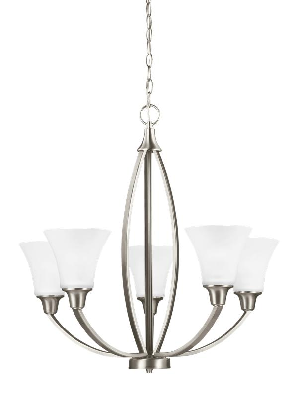 3113205 962 Five Light Chandelier Brushed Nickel