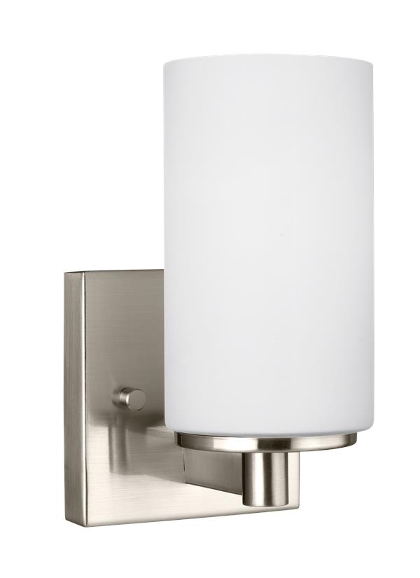 4139101en 962 one light wall bath sconce brushed nickel for One light bathroom wall sconce