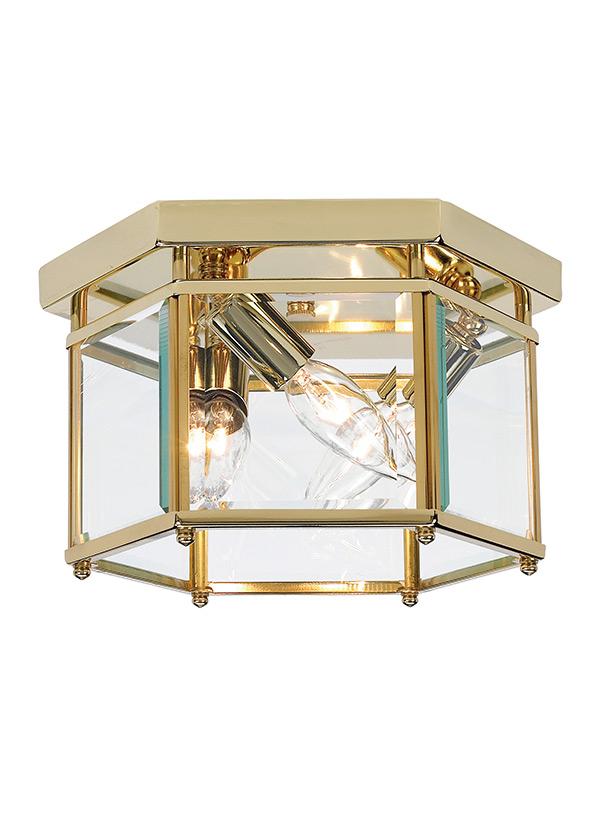 7648 02three light ceiling flush mountpolished brass mozeypictures Images