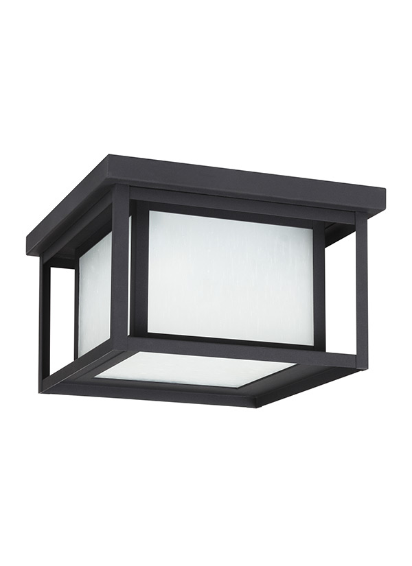 79039 12 Two Light Outdoor Ceiling Flush Mount Black