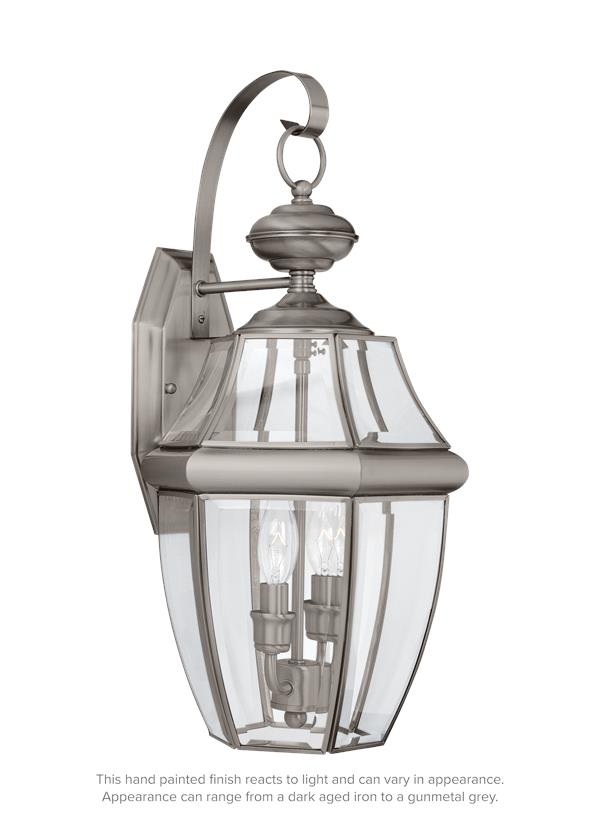 8039 965two light outdoor wall lantern antique brushed nickel aloadofball Images