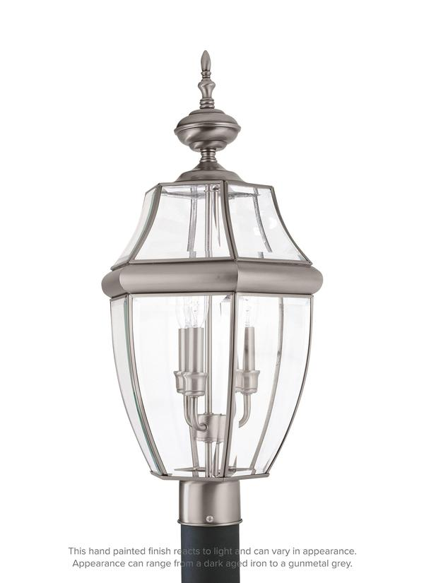 8239en 965 Three Light Outdoor Post Lantern Antique Brushed
