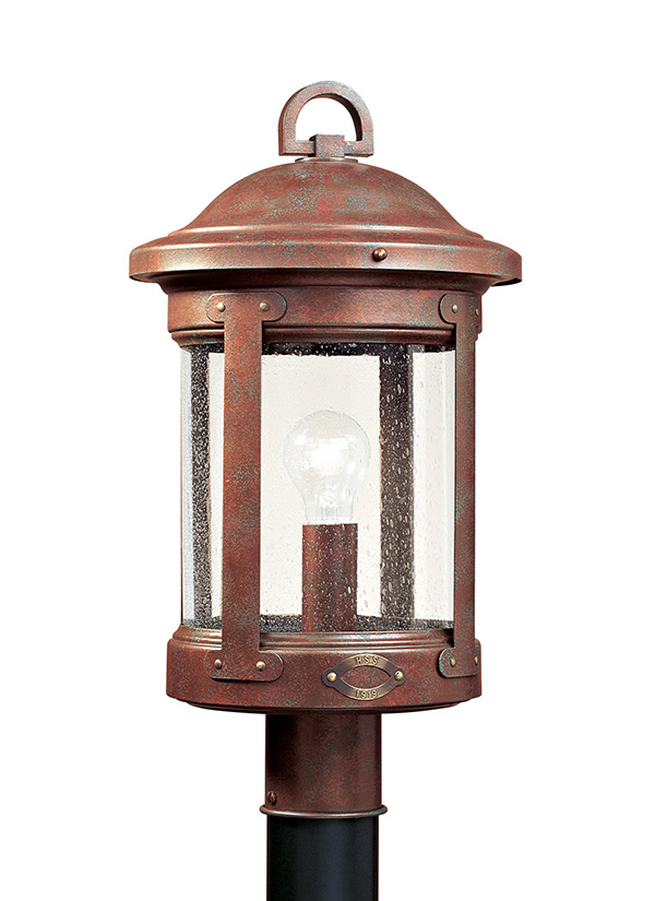 8241 44one light outdoor post lanternweathered copper aloadofball Image collections