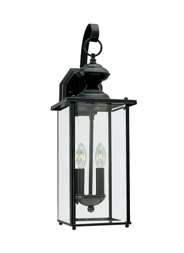 8468en 12 Two Light Outdoor Wall Lantern Black