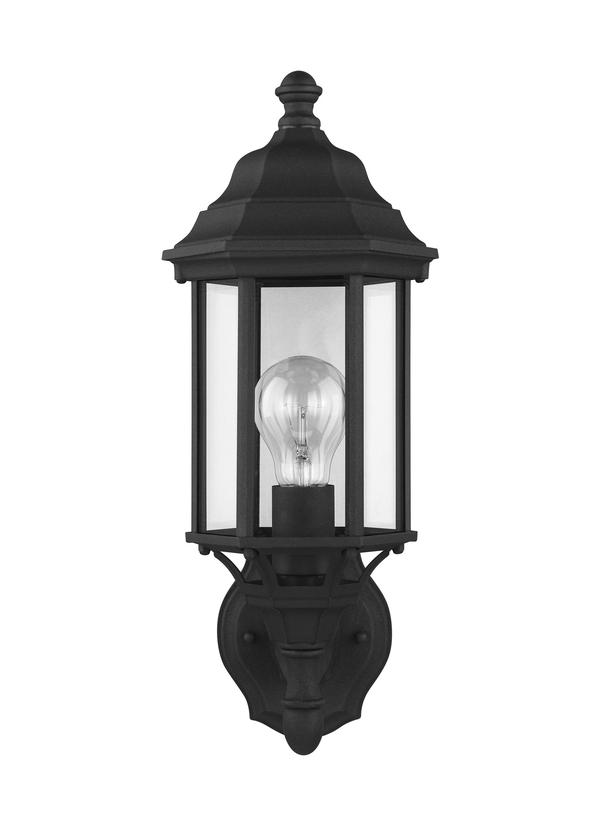 8538701-12,Small One Light Uplight Outdoor Wall Lantern,Black