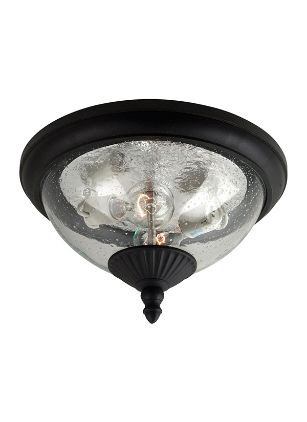 88068 12two light outdoor ceiling flush mountblack