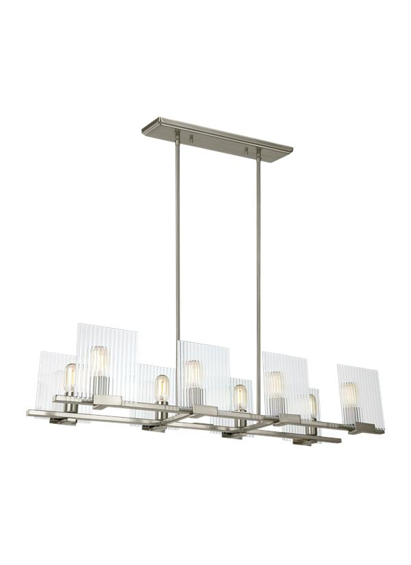 3226108 962 Eight Light Island Chandelier Brushed Nickel