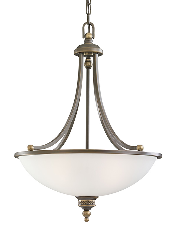 65351 708 three light pendant estate bronze