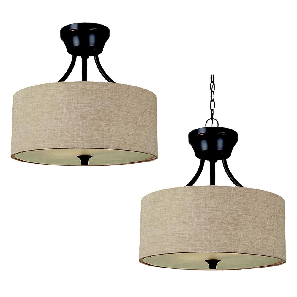 77952 790two light semi flush pendantoil rubbed bronze aloadofball Images