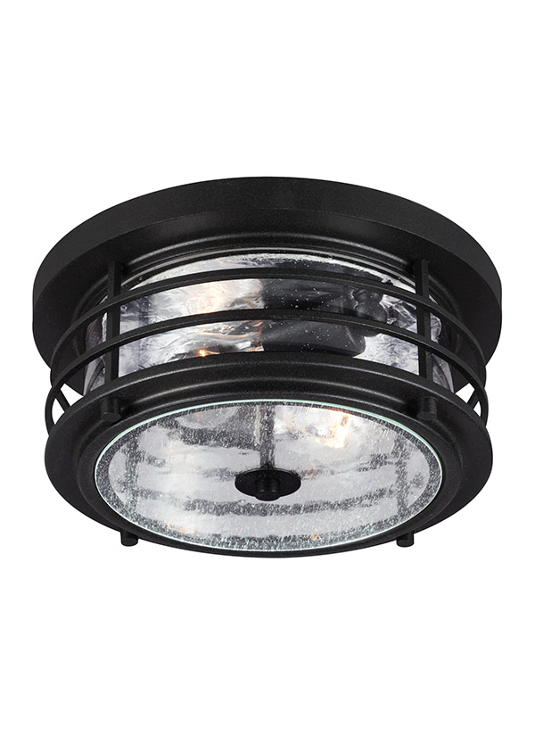 7824402 12 two light outdoor ceiling flush mount black