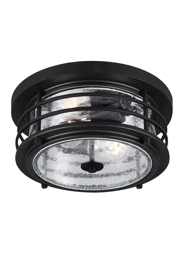 7824402 12 two light outdoor ceiling flush mount black