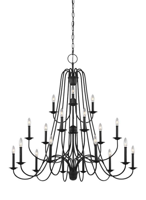 f3207  18af eighteen light chandelier antique forged iron