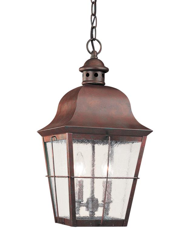 Two Light Outdoor Pendant Weathered Copper