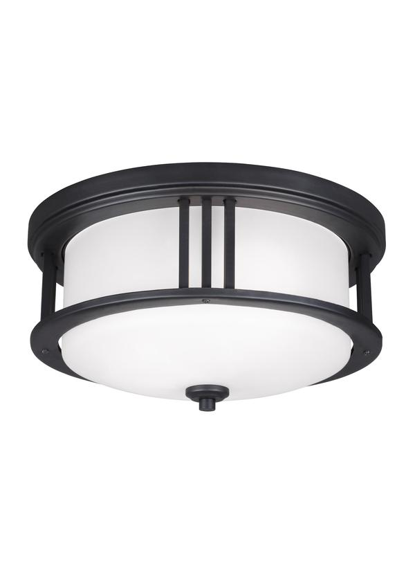 7847902 12 Two Light Outdoor Ceiling Flush Mount Black