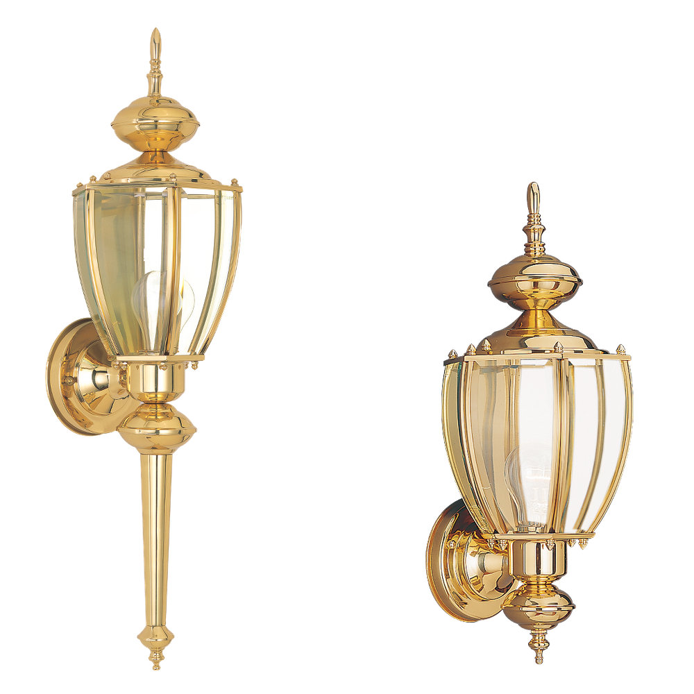 8578 02 One Light Outdoor Wall Lantern Polished Brass