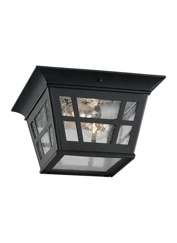 78131 12 Two Light Outdoor Ceiling Flush Mount Black